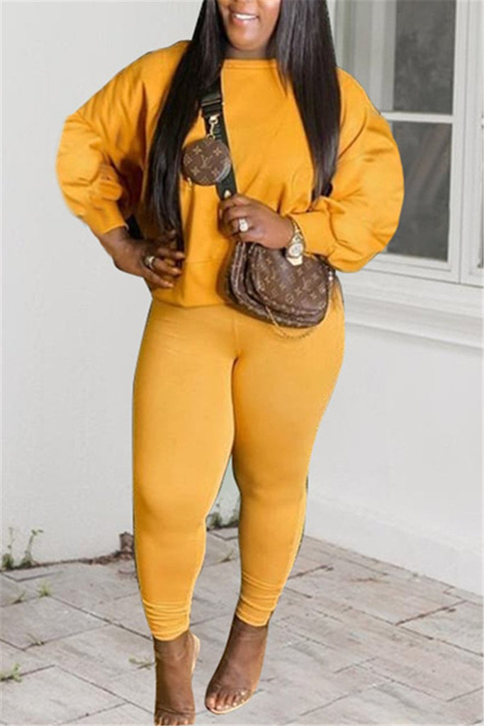 Plus Size Solid Color Casual Two Piece Sets