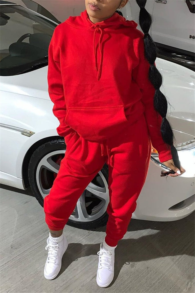 Solid Color Hooded Collar Pocket Two Piece Sets