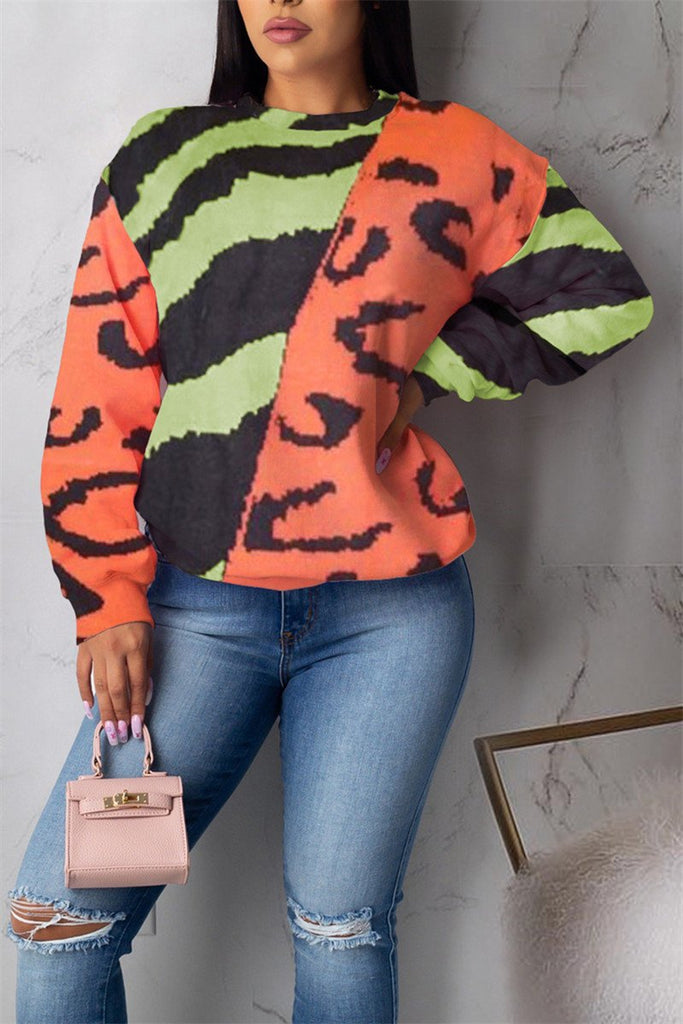 Printed Long Sleeve Causal Sweatshirt