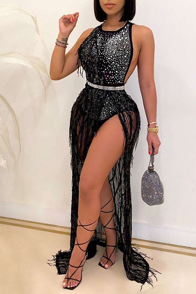 Sleeveless Mesh Panel Sequined Dress