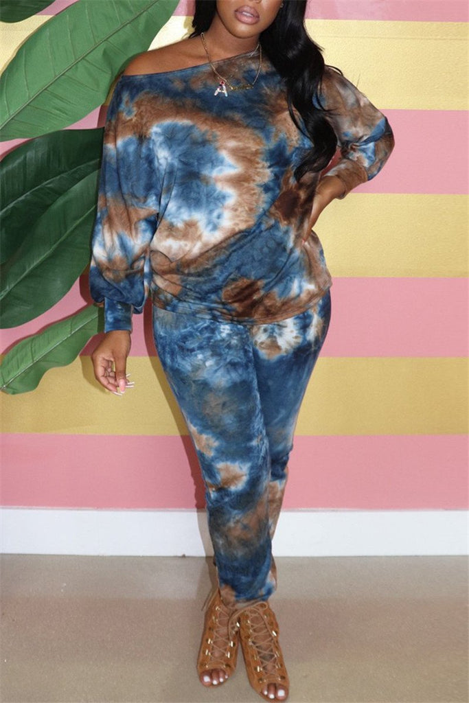 Tie Dye Skew Neck Long Sleeve Two Piece Sets