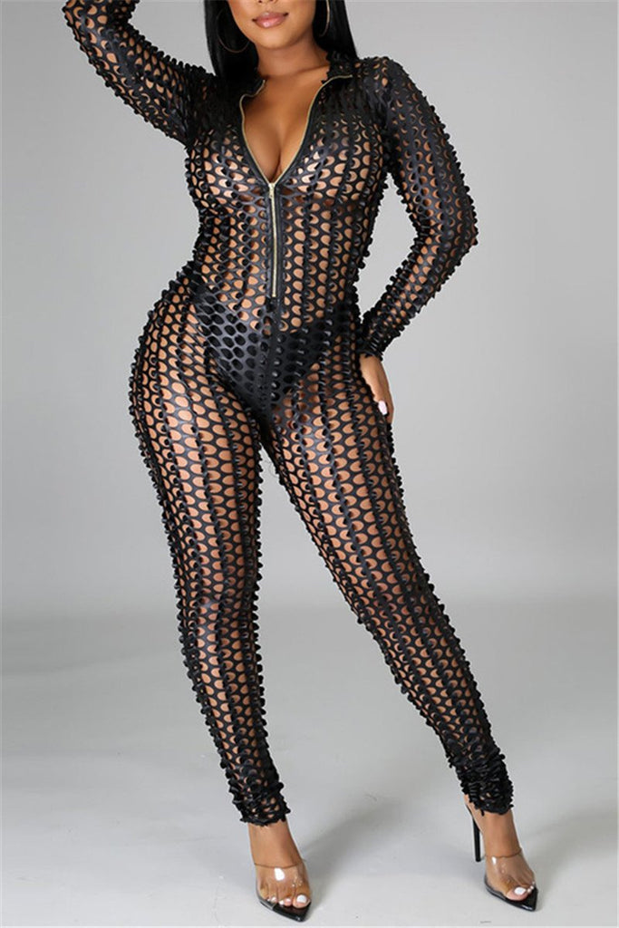 Zip Up Hollow Out Long Sleeve Sexy Jumpsuit