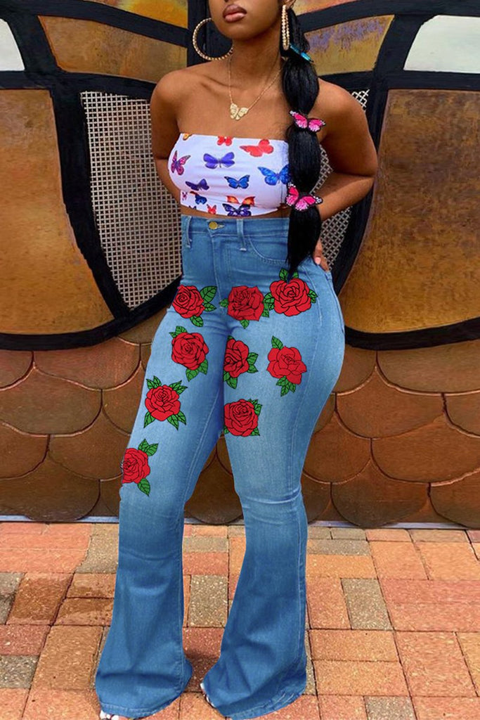 Floral Print Denim High Waist Flared Jeans