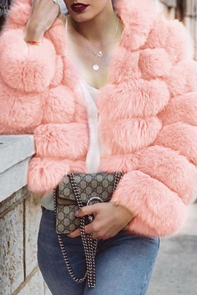 Plus Size Solid Faux Fur Long Sleeve Winter Coat