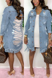 Hole Distressed Denim Tassel Jacket