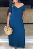 Solid Color V-neck Short Sleeve Casual Maxi Dress