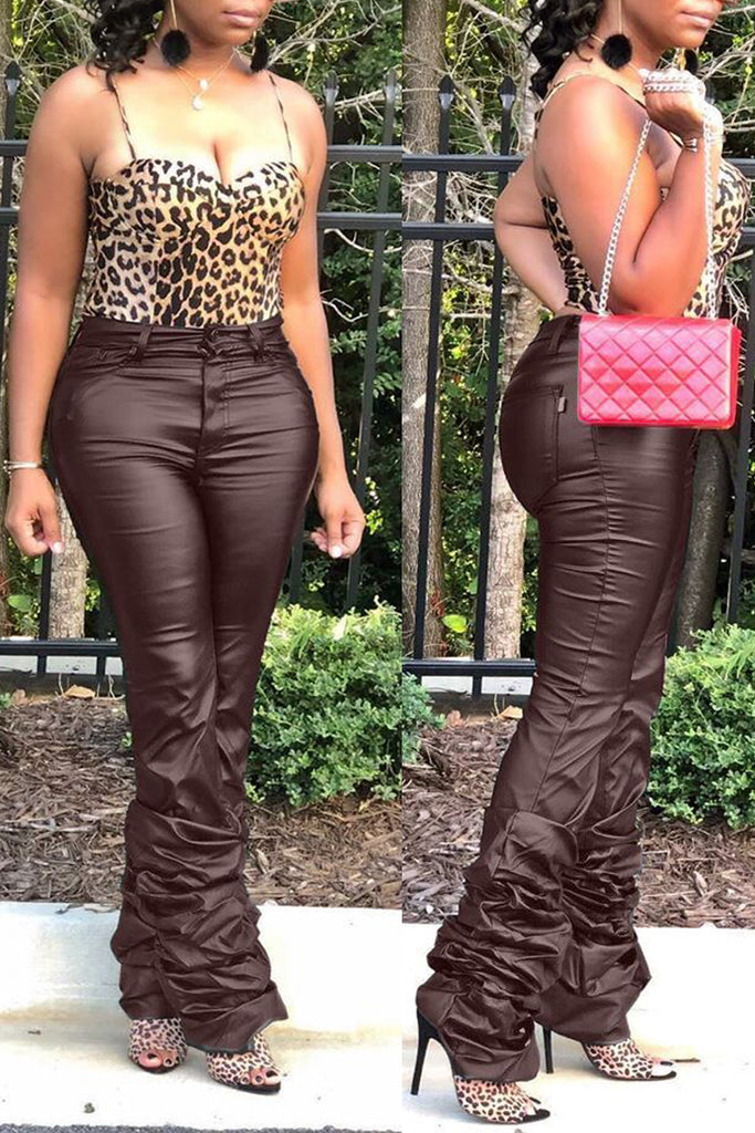 PU Solid Middle Waist Stacked Pants