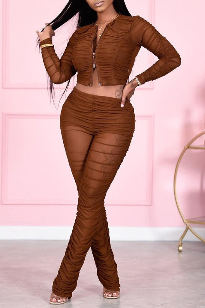 Wrinkled Solid Zipper Mesh Two Piece Sets
