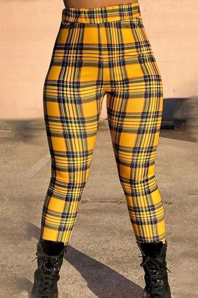 Plaid Print High Waist Skinny Pants