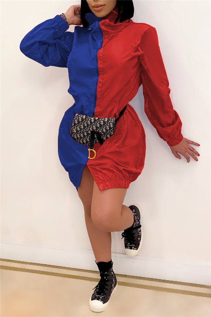 Color Block Zip Up Long Sleeve Casual Dress