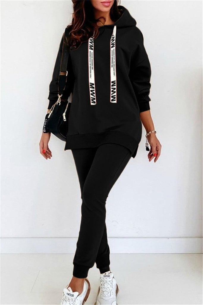 Solid Color Hooded Long Sleeve Two Piece Sets