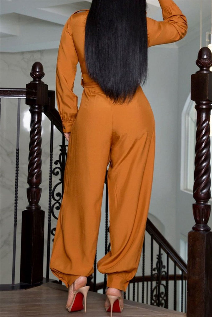 Button Up Solid Color Long Sleeve Jumpsuit