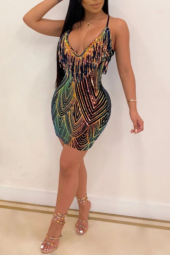 Sequined Tassels Halter V-Neck Mini Dress