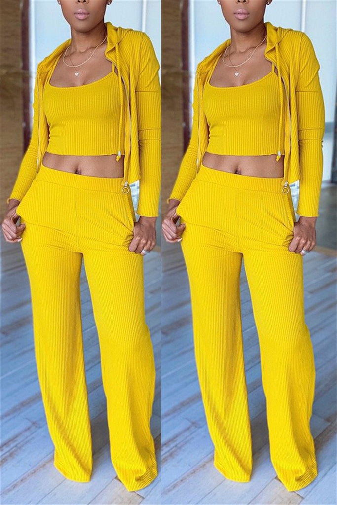 Solid Color Zip Up Casual Three Piece Sets