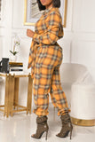 Plaid Print Strapped V-Neck Long Sleeve Jumpsuit