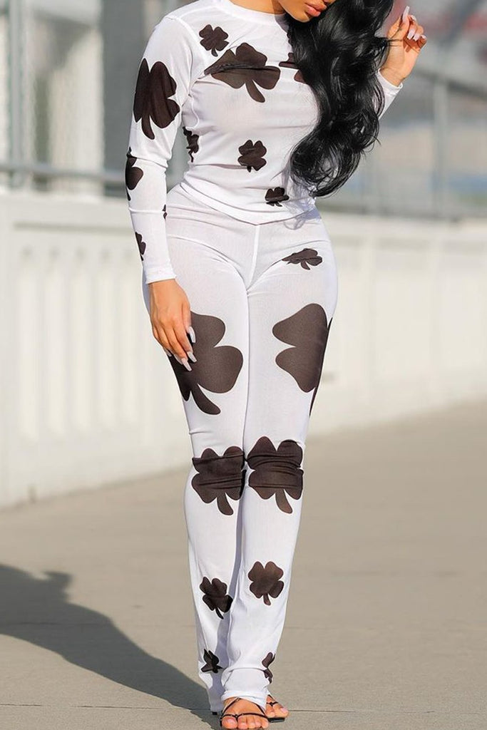 Clover Print Round Neck Two Piece Sets
