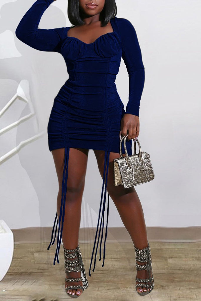 Solid Color Drawstring Plus Size Dress