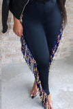 Tassels High Waist Plus Size Skinny Pants