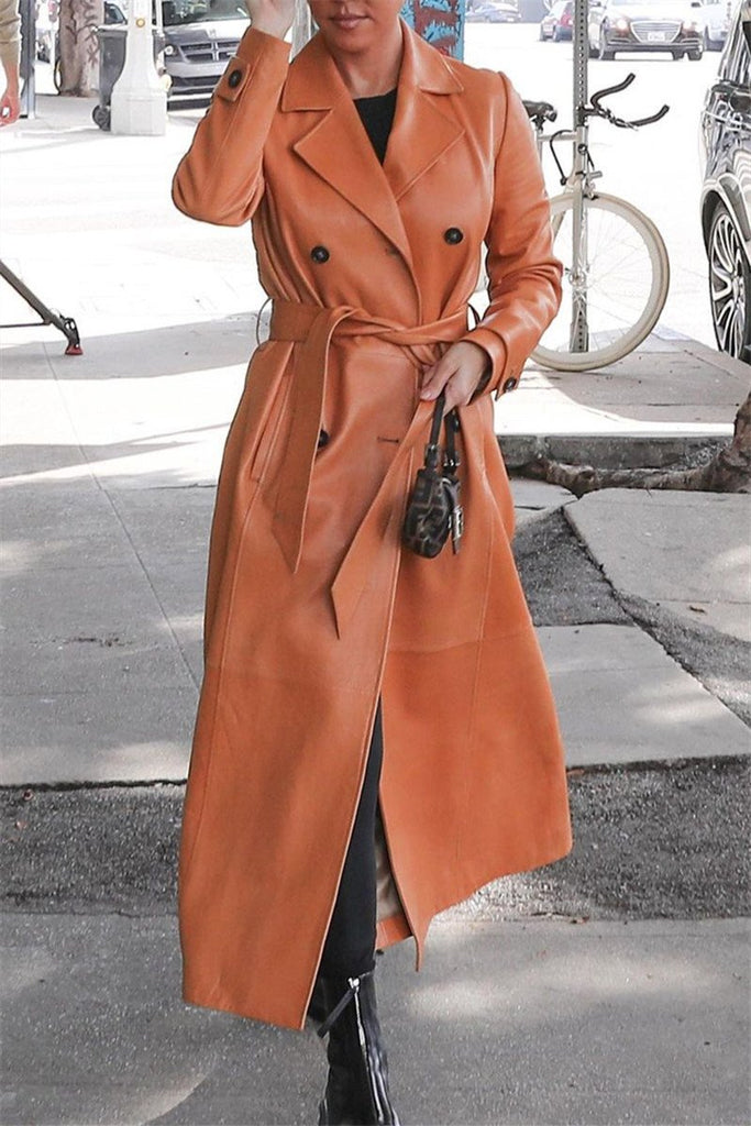 PU Turndown Collar Solid Color Belted Coat