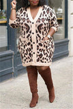 Plus Size Leopard Print Pocket Dress