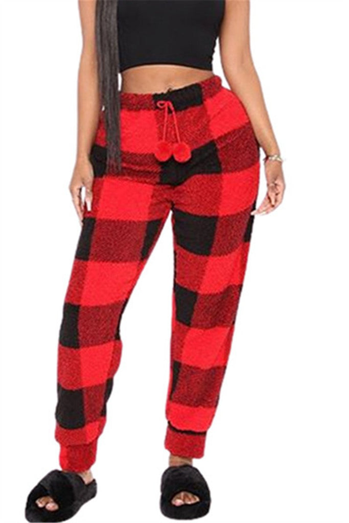 Plaid Print Plush Casual Pants