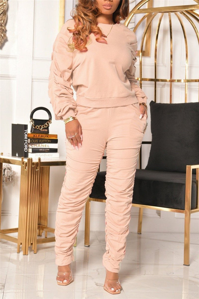 Solid Color Long Sleeve Ruched Two Piece Sets