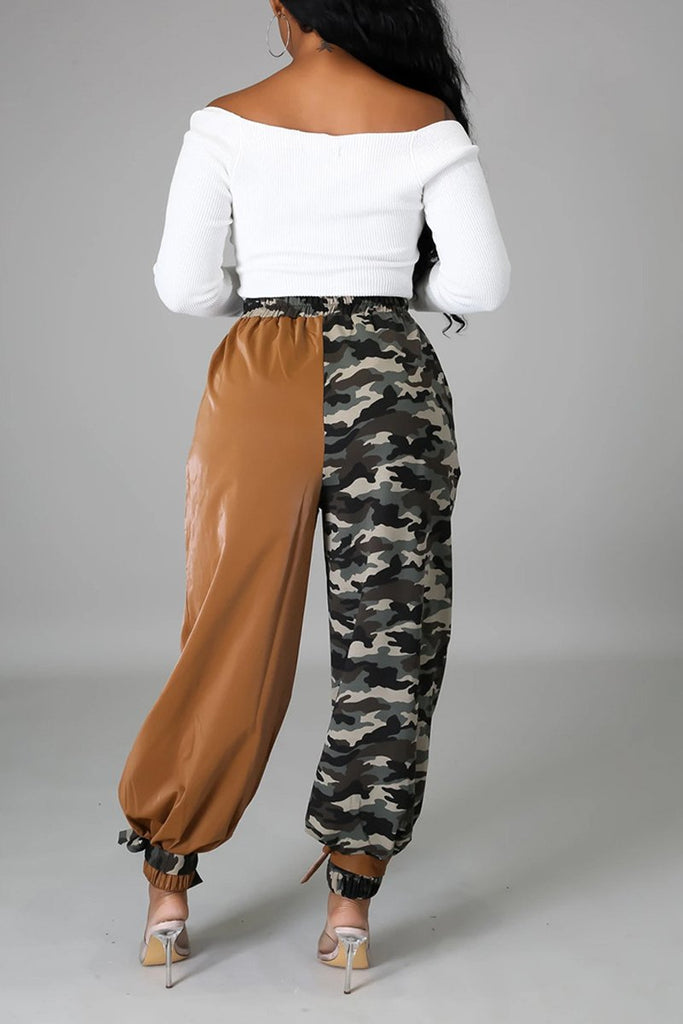 Camouflage Patchwork Tie Up Long Pants