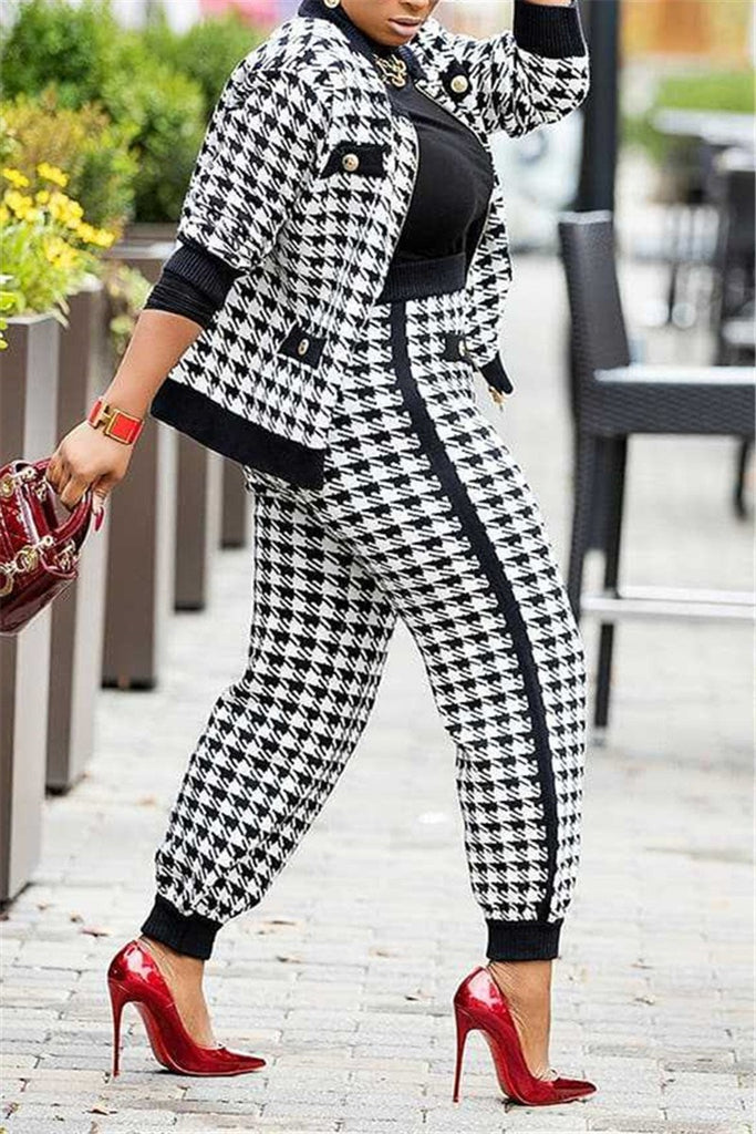 Houndstooth Print Long Sleeve Button Coat & Pants