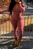 Plus Size Stripe Print Long Sleeve Jumpsuit
