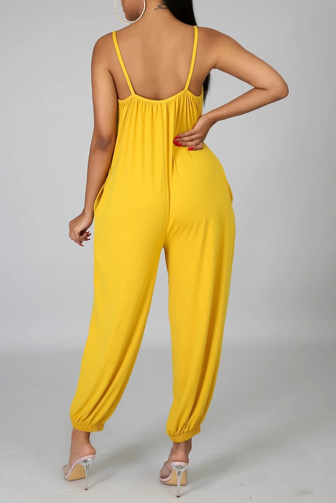 Solid Color Lantern Sleeveless Jumpsuit