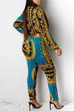 Digital Print Button Up Jumpsuit Without Belt