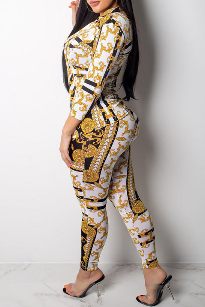 Fashion Sexy Print Long Sleeve Two Piece Sets - WHATWEARS