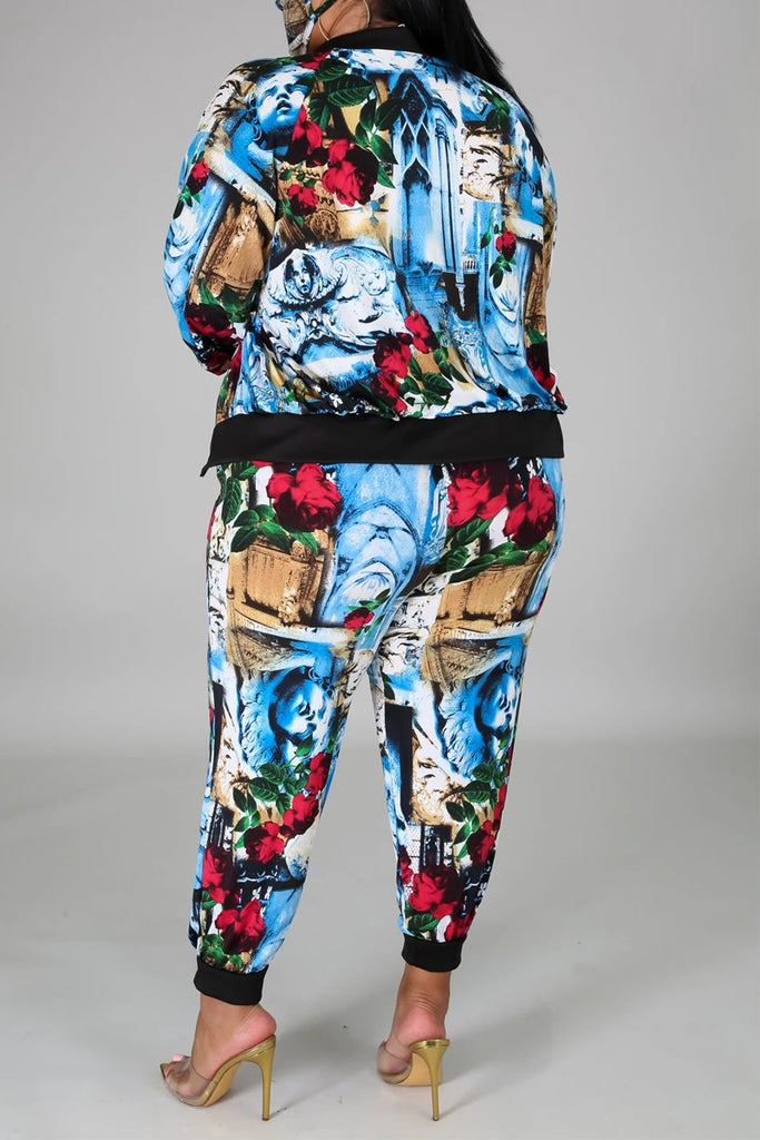 Plus Size Digital Print Three Piece Sets With Mask