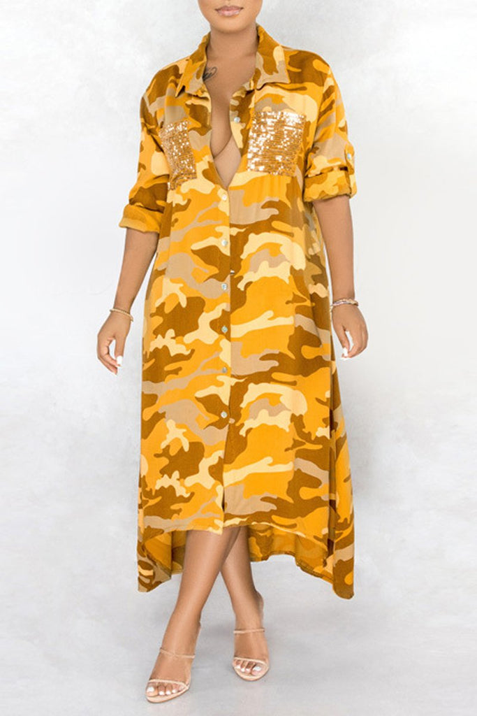 Sequin Splicing Camouflage Print Maxi Dress