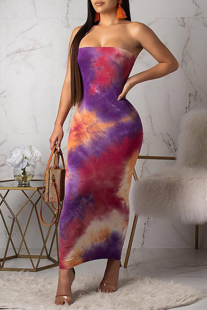 Tie Dye Sleeveless Strapless Bodycon Midi Dress