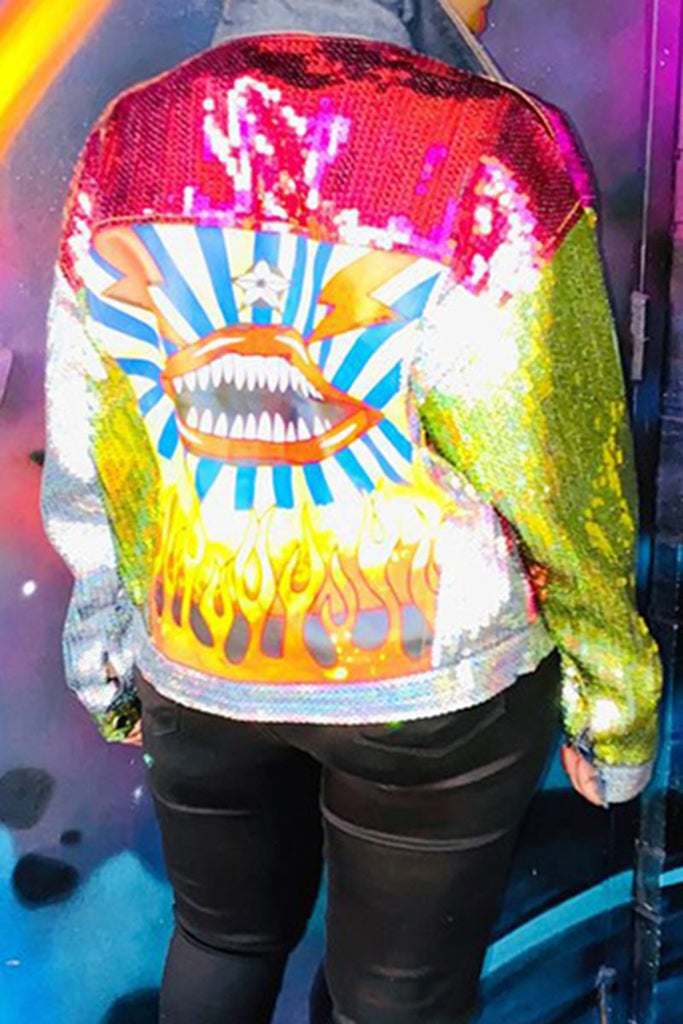 Sequins Colorful Button Long Sleeve Jacket