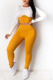 Color Block Round Neck Long Sleeve Top & Pants