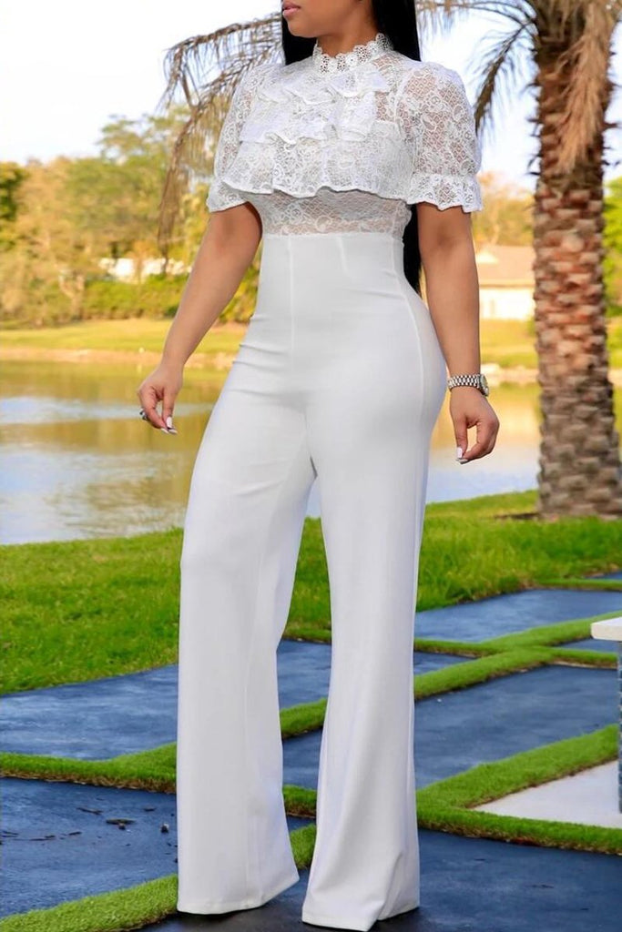 See-through Ruffle Lace Patchwork Jumpsuit