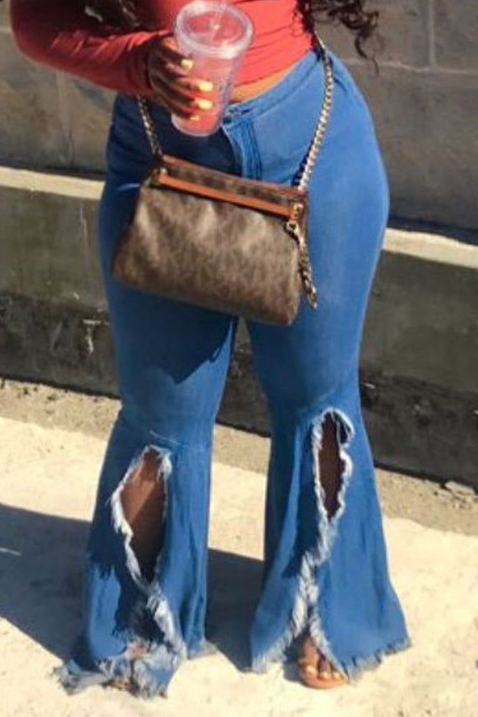 High Slit Distressed Flared Denim Pants