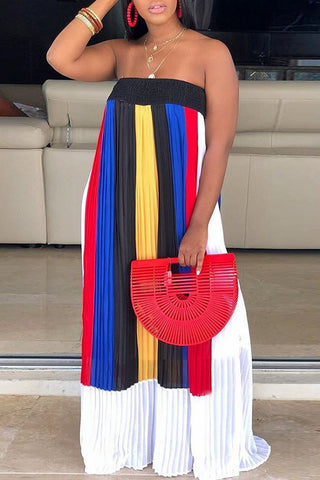Whatwears coupon: Strapless Color Block Open Back Pleated Maxi Dress