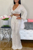 Deep V Neck Puff Sleeve Sequin Two Piece Sets