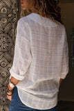 Casual Solid Color V-Neck Long Sleeve Blouse Plus Size