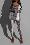 Square Collar Snake Print Top & Pants