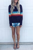 Round Neck Rainbow Stripe Long Sleeve Top