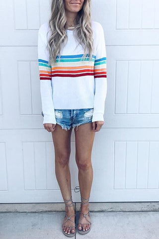 Mixed Color Long Sleeve Printed Blouse