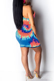 One Shoulder Tie Dye Hollow Out Mini Dress