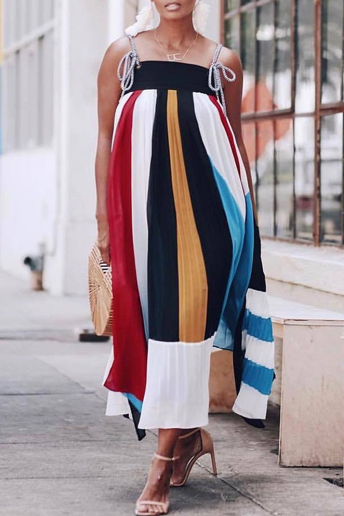 Stripe Print Casual Sleeveless Pleated Midi Dress