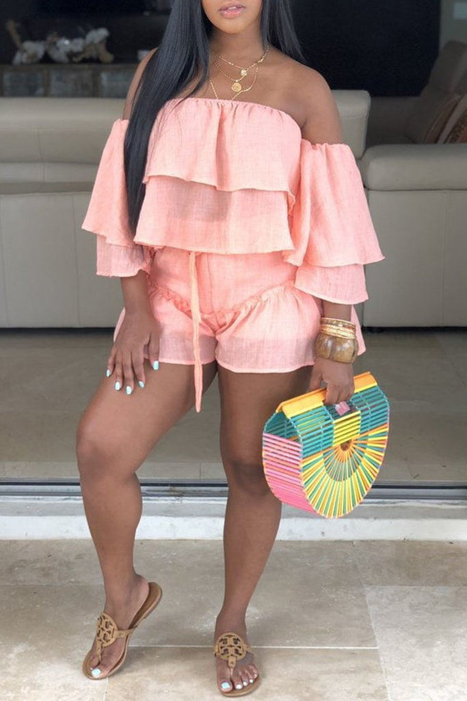 Off The Shoulder Flounced Solid Two Piece Sets
