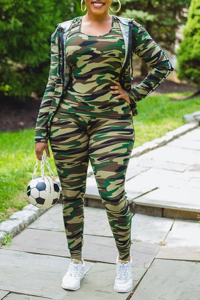 Plus Size Camouflage Print Hooded Three Piece Sets