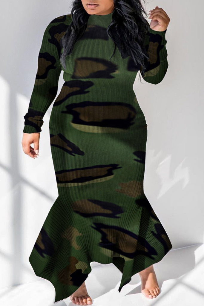 Plus Size Camouflage Printed Asymmetric Hem Dress – WHATWEARS